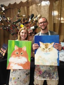 Bethany and Cody and their artists' rendition of Jax and Serg