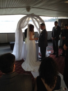 The Bride and Groom reciting their vows.