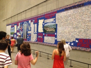 Quilt made in honor of those who died on 9/11. On display in the 911 Memorial Museum.
