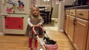 Lincoln loves to be pushed in baby carriage by Laila