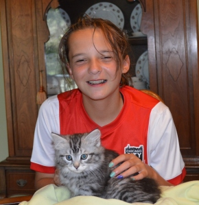 Elizabeth had a soccer game in Crystal Lake - so a perfect time to pick up the kittens.