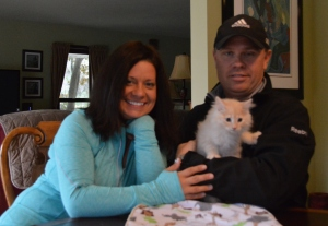 Nikki fell in love with Niko at first sight. Rich will have the pleasure of choosing when they get their second kitten in the spring.