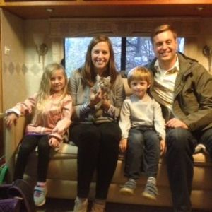 Tim and Jen are both former Marines so you can imagine our excitement when they contacted us to adopt a kitten. The family spent three years in France and so selected a French name for their kitten - Libellule. Jen is pictured here with her brother and her two oldest children.