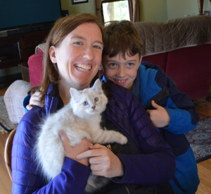 Michelle and Jack came to pick up Sam this morning. Sister Maggie and another Siberian, Ronen, are waiting at home to welcome them.