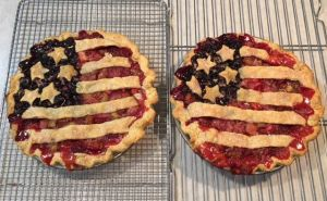 Strawberry/Rhubarb and Blueberry Pie