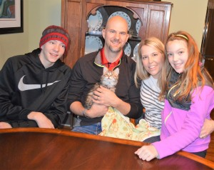 Isaac and Khania and children, Grant and Evelyn greeted their new family member Wrigley. Khaniia reported Wrigley was a little shy at first when he first got home but he slowly warmed up and has been having a blast!